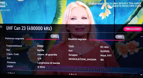 Potenza del segnale su TV LG